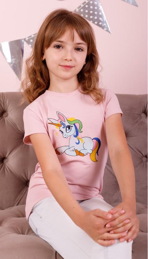 Дитяча футболка Casual PONIі (пудра) – купити в Україні від Галичанка фото 1