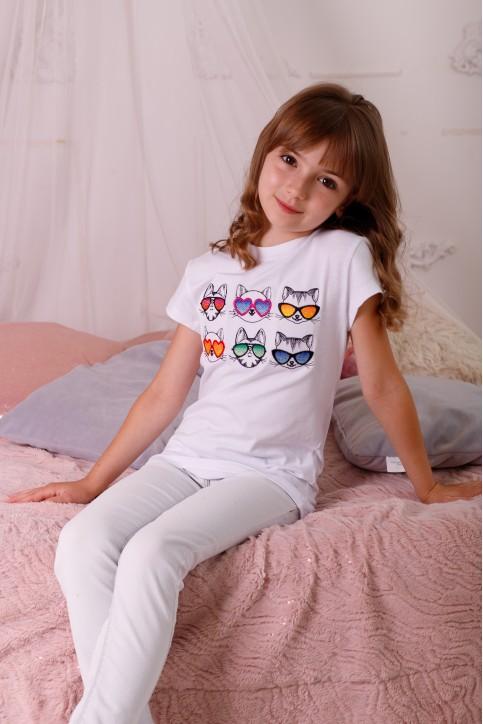Дитяча футболка Casual Сонячні котики (біла) – купити в Україні від Галичанка фото 1