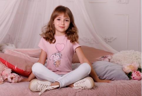 Дитяча футболка Casual Зайка (пудра) – купити в Україні від Галичанка фото 1