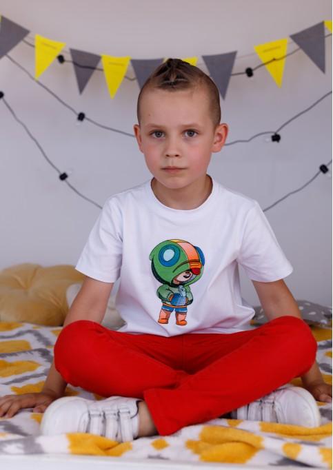 Дитяча футболка Casual Леон (біла) – купити в Україні від Галичанка фото 1