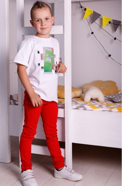 Дитяча футболка Casual Майнкрафт (біла) – купити в Україні від Галичанка фото 1