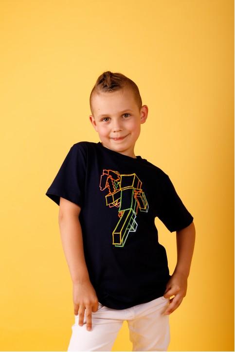 Дитяча футболка Casual Майнкрафт (темно синя) – купити в Україні від Галичанка фото 1