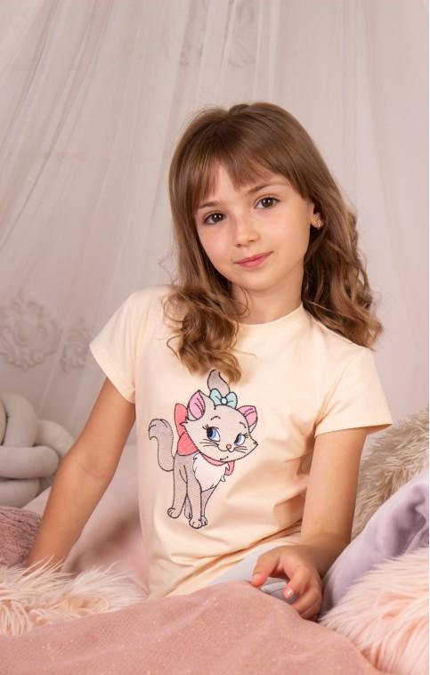 Дитяча футболка Casual Киця Мура (крем) – купити в Україні від Галичанка фото 1