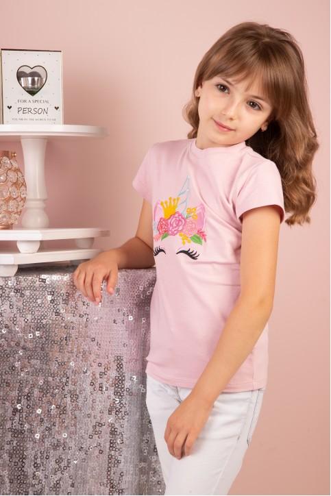 Дитяча футболка Casual Принцеса Поні (пудра) – купити в Україні від Галичанка фото 1
