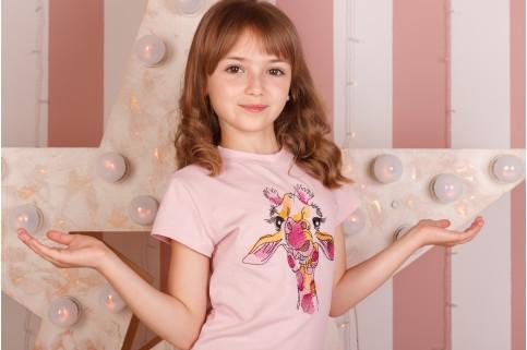 Дитяча футболка Casual Жирафа (пудра) – купити в Україні від Галичанка фото 1