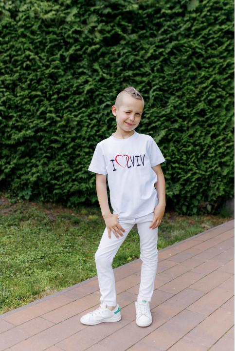 Дитяча футболка Casual  I LOVE LVIV (біла) – купити в Україні від Галичанка фото 1