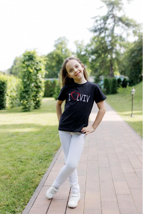 Дитяча футболка Casual I LOVE LVIV (чорна) – купити в Україні від Галичанка фото 1