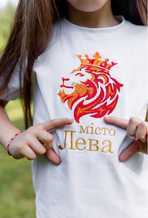Дитяча футболка Casual Місто Лева (біла) – купити в Україні від Галичанка фото 1