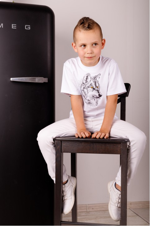Дитяча футболка Casual Вовчик (біла) – купити в Україні від Галичанка фото 1