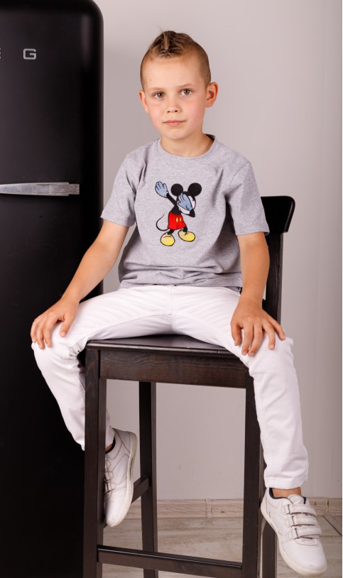 Дитяча футболка Casual Мікі  (сіра) – купити в Україні від Галичанка фото 1
