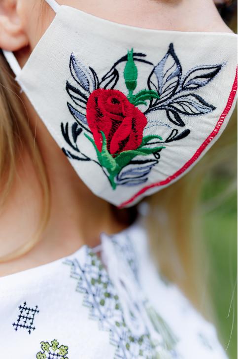 Купити захисну маску Троянда ( молочна) в Україні від виробника Галичанка фото 1