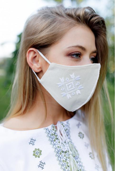 Купити захисну маску  Ромб ( молочний з білим) в Україні від виробника Галичанка фото 1