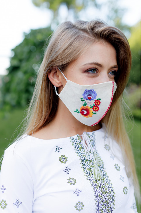 Купити захисну маску  Квіткова (молочна) в Україні від виробника Галичанка фото 1