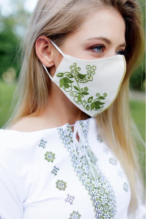 Купити захисну маску Зозуля (молочна з зеленим) в Україні від виробника Галичанка фото 1