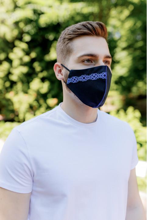 Купити захисну маску Смужка ( чорна з синім) в Україні від виробника Галичанка фото 1