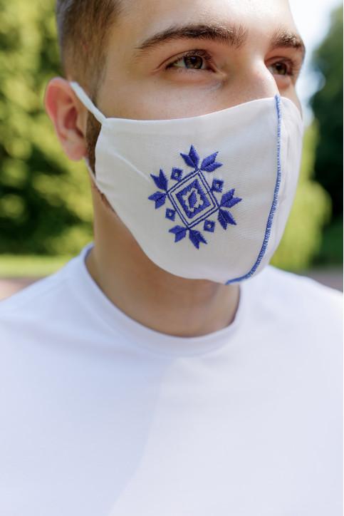 Купити захисну маску Ромб ( біла з синім) в Україні від виробника Галичанка фото 1