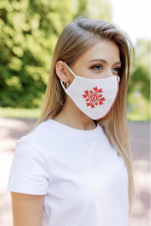 Купити захисну маску Ромб ( біла з червоним) в Україні від виробника Галичанка фото 1