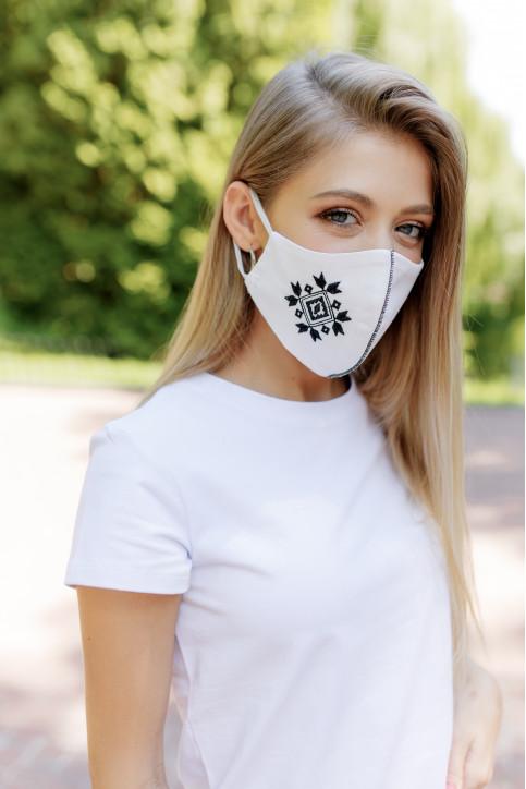 Купити захисну маску Ромб ( біла з чорним) в Україні від виробника Галичанка фото 1