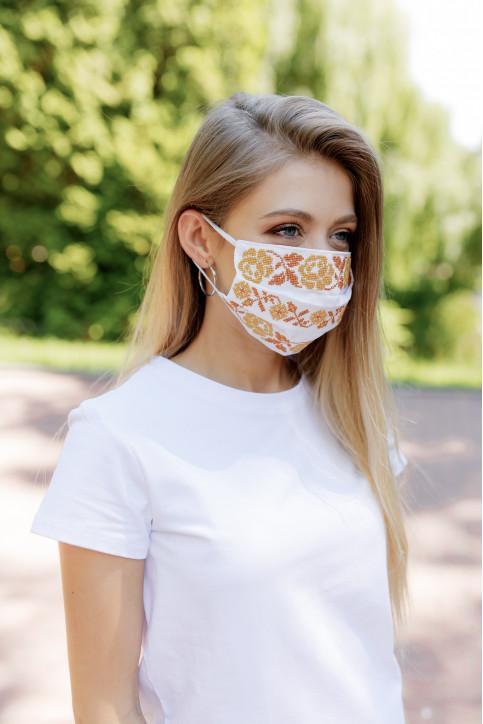 Купити захисну маску  Орнамент (біла з золотом) в Україні від виробника Галичанка фото 1