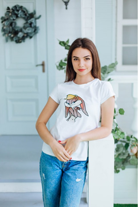 Купити жіночу футболку casual Лола (біла) в Україні від Галичанка фото 1