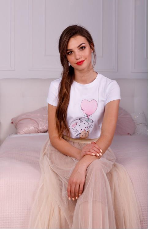 Купити жіночу футболку casual Зайка (біла) в Україні від Галичанка фото 1