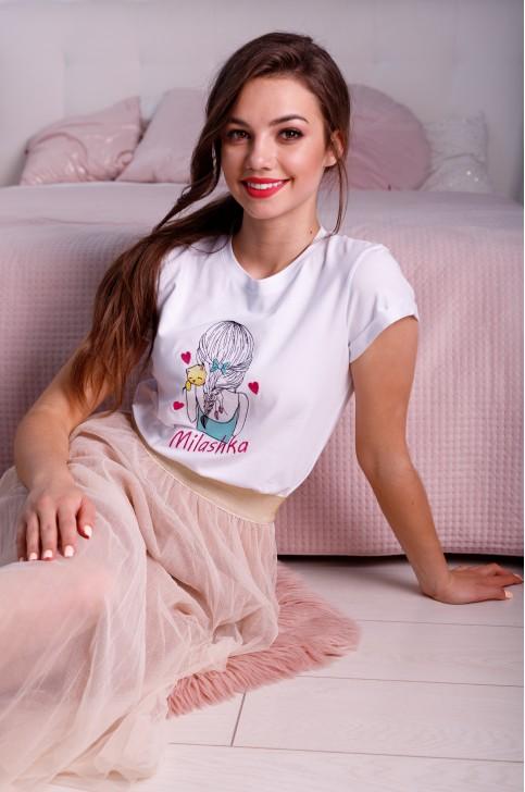 Купити жіночу футболку casual Мілашка (біла) в Україні від Галичанка фото 1