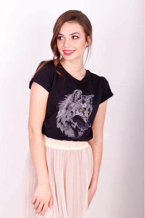 Купити жіночу футболку casual Вовк (чорна)  в Україні від Галичанка фото 1