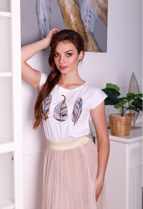 Купити жіночу футболку casual Пір'їнка (біла) в Україні від Галичанка фото 1