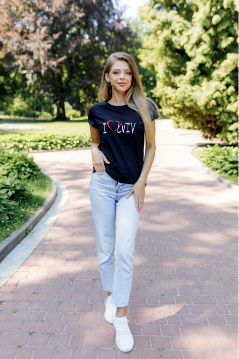 Купити жіночу футболку casual I LOVE LVIV (чорна) в Україні від Галичанка фото 1