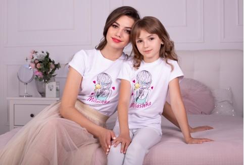 """Купити парні футболки трикотажні Комплект """"Мілашка"""" (білий) дівчинка+жінка  в Україні від Галичанка фото 1"""