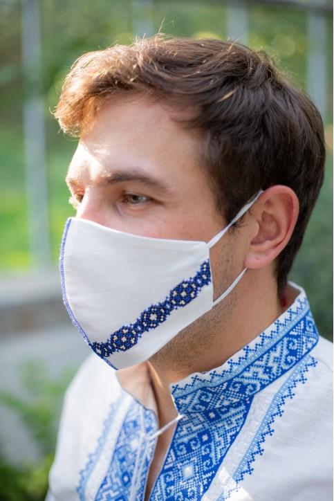Купити захисну маску  Смужка (біла з синім) в Україні від виробника Галичанка фото 1