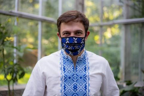 Купити захисну маску Орнамент ( чорна з синім) в Україні від виробника Галичанка фото 1