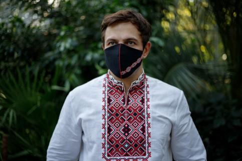 Купити захисну маску  Смужка (чорна з червоним) в Україні від виробника Галичанка фото 1