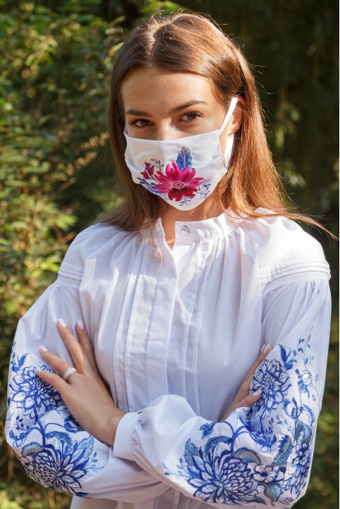 Купити захисну маску Розпис (біла) в Україні від виробника Галичанка фото 1
