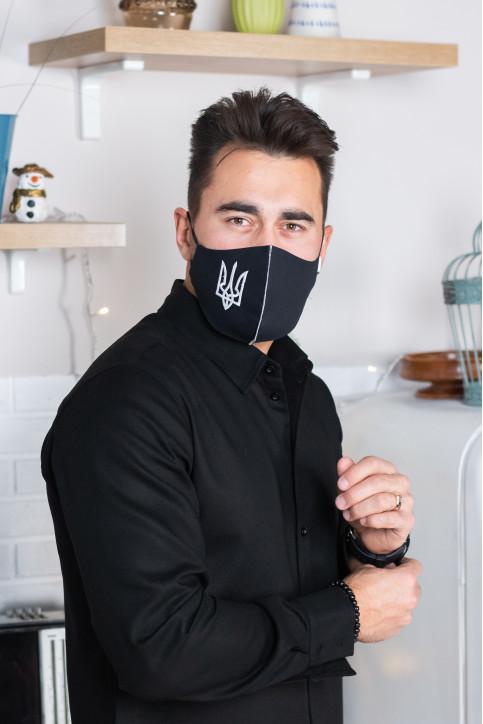 Купити захисну маску Тризуб (чорна) в Україні від виробника Галичанка фото 1