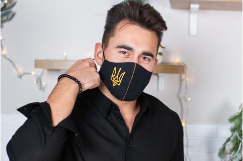Купити захисну маску Тризуб (чорна з золотом) в Україні від виробника Галичанка фото 1