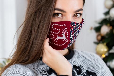 Купити захисну маску Meryy Christmas (вишнева) в Україні від виробника Галичанка фото 1