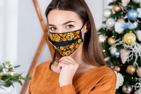 Купити захисну маску Орнамент (чорна з золотом) в Україні від виробника Галичанка фото 1