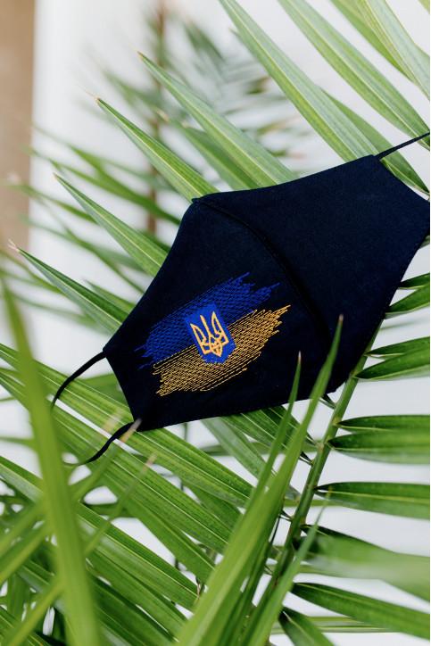 Купити захисну маску  Прапор+Тризуб (чорна) в Україні від виробника Галичанка фото 1