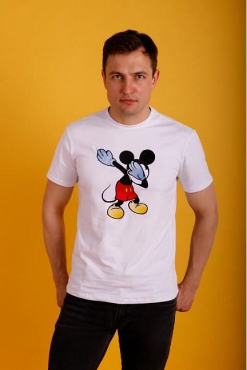 Купити чоловічу футболку Casual Мікі Маус (біла)  в Україні від Галичанка фото 1