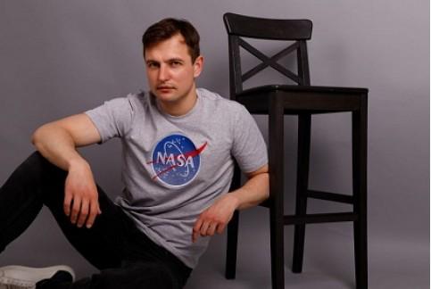 Купити чоловічу футболку Casual  NASA (сіра)  в Україні від Галичанка фото 1