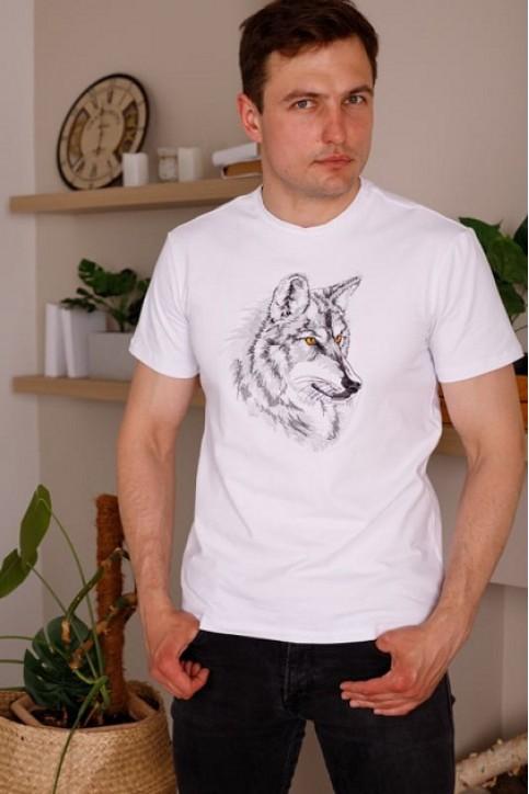 Купити чоловічу футболку Casual Вовк (біла)  в Україні від Галичанка фото 1