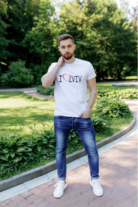 Купити чоловічу футболку Casual I LOVE LVIV (біла)  в Україні від Галичанка фото 1