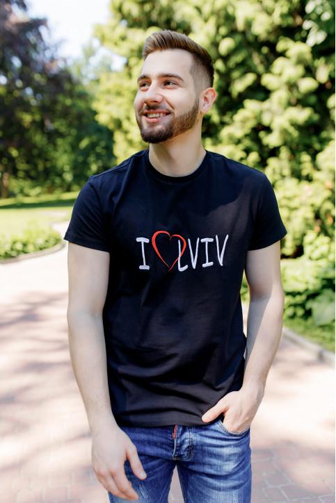 Купити чоловічу футболку Casual  I LOVE LVIV (чорна)  в Україні від Галичанка фото 1