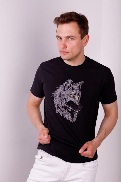 Купити чоловічу футболку Casual Вовк (чорна)  в Україні від Галичанка фото 1