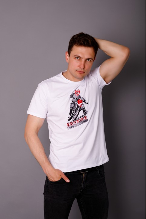 Купити чоловічу футболку Casual Мото (біла)  в Україні від Галичанка фото 1