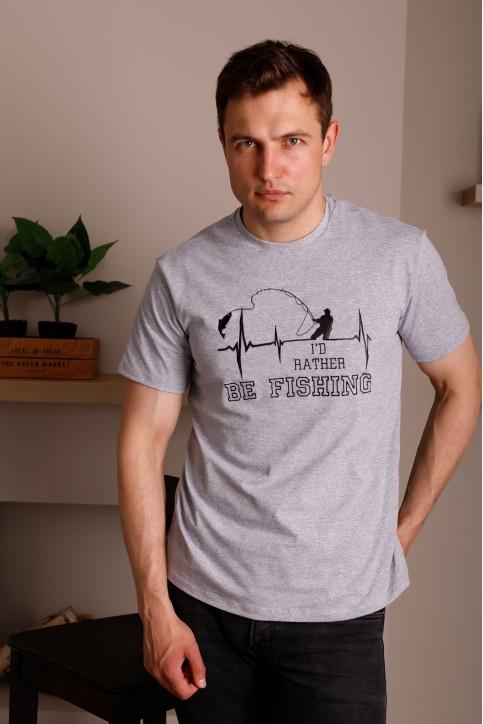 Купити чоловічу футболку Casual Щастя Рибака (сіра)  в Україні від Галичанка фото 1