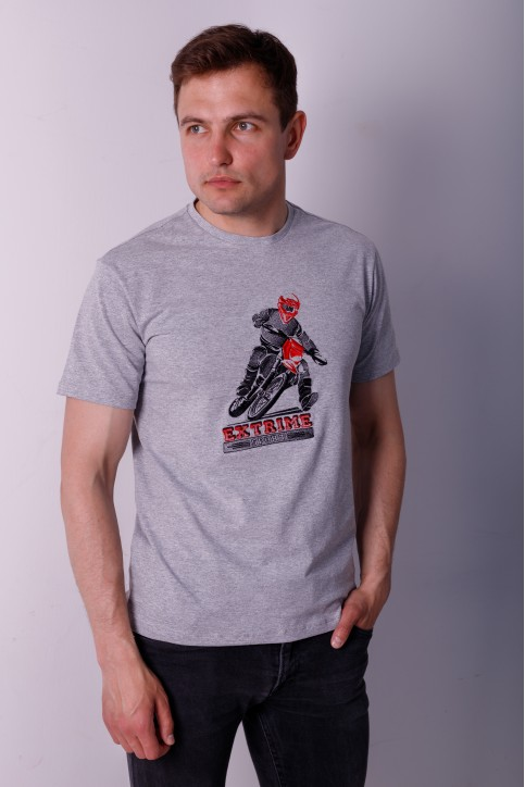 Купити чоловічу футболку Casual Мото (сіра)  в Україні від Галичанка фото 1