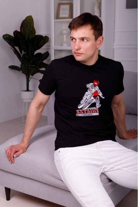 Купити чоловічу футболку Casual Мото (чорна)  в Україні від Галичанка фото 1