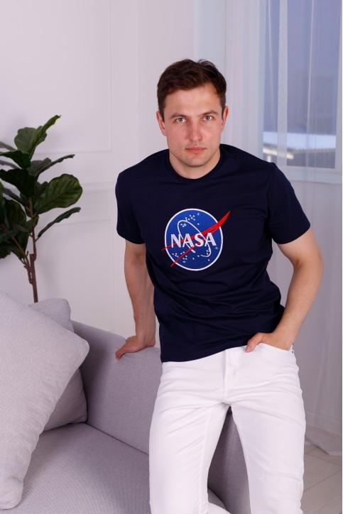 Купити чоловічу футболку Casual NASA (темно синя)  в Україні від Галичанка фото 1